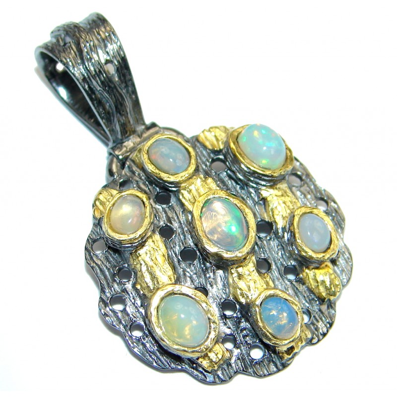 Genuine Ethiopian Opal Oxidized Gold plated Sterling Silver handmade Pendant
