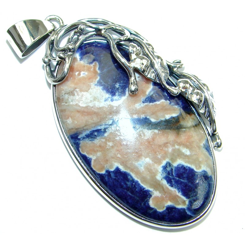 Authentic Blue Sodalite oxidized Sterling Silver handmade Pendant