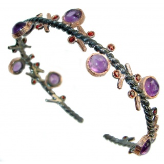 Precious Natural Rich Amethyst Rhodolite Garnet Gold plated over 925 Sterling Silver bracelet
