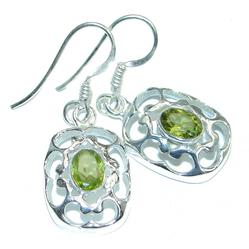 Genuine Peridot Sterling Silver handmade Earrings