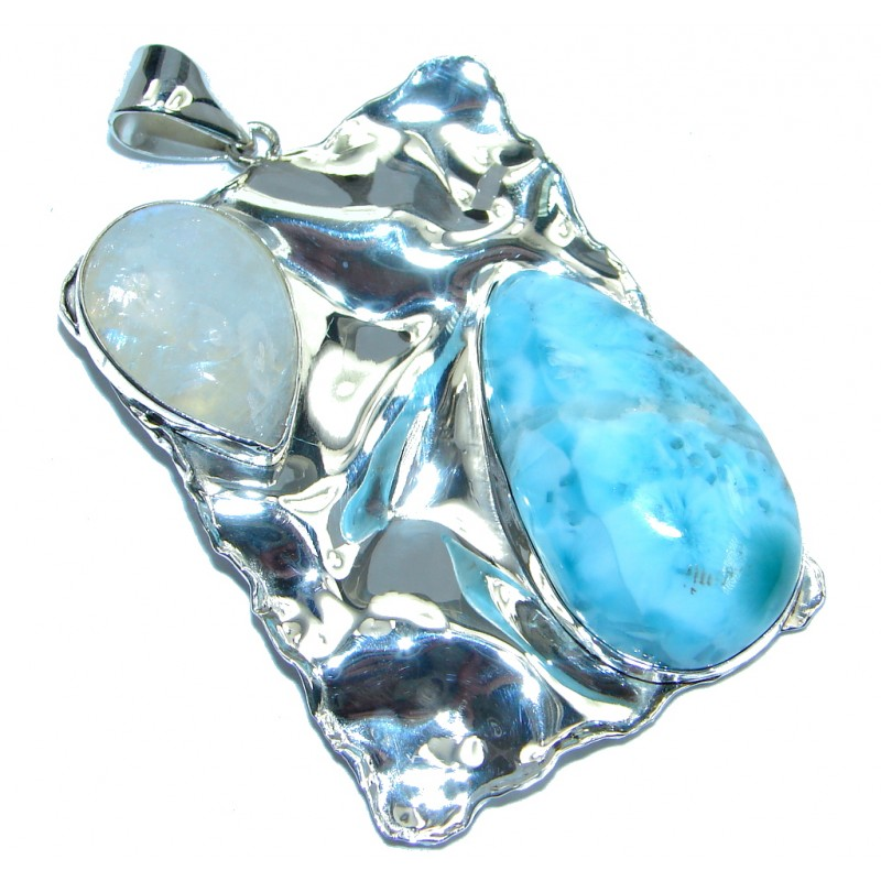 Jumbo Natural Moonstone Blue Larimar Hammered Sterling Silver Pendant