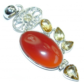Sublime Beautiful genuine Carnelian Citrine Sterling Silver handmade Pendant