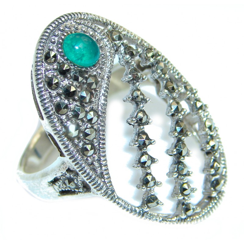 Exotic Marcasite Agate Sterling Silver Ring s. 8 3/4