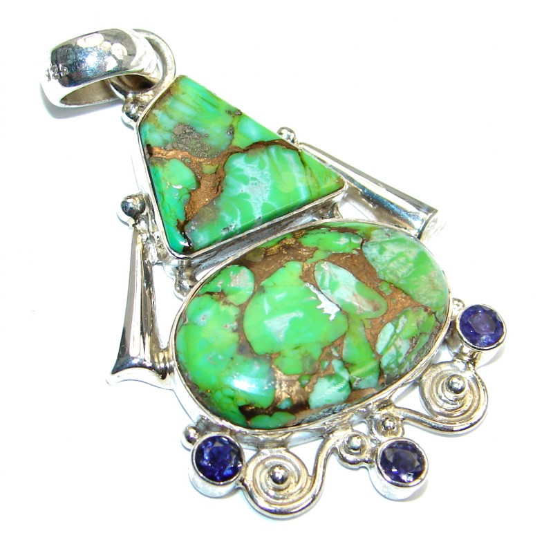 Huge Green Turquoise Copper Sterling Silver habndmade Pendant