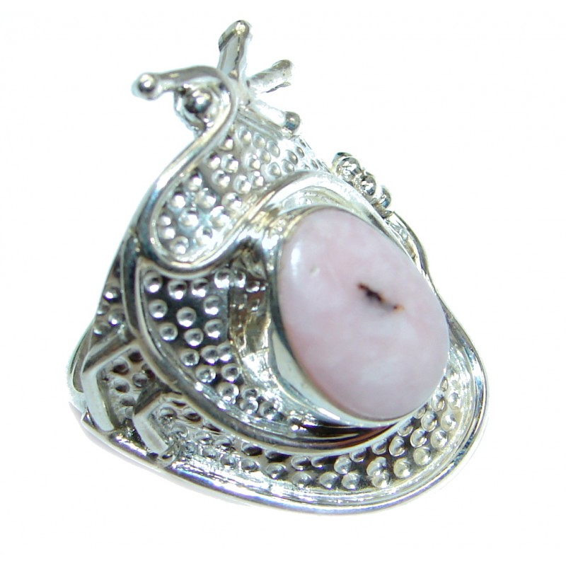 Great quality Pink Opal Sterling Silver Ring size 8 1/2