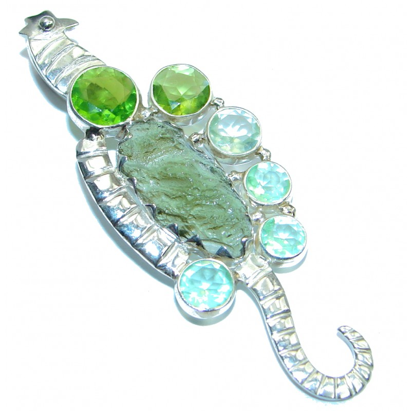 Excellent Genuine Green Moldavite Peridot Sterling Silver Pendant