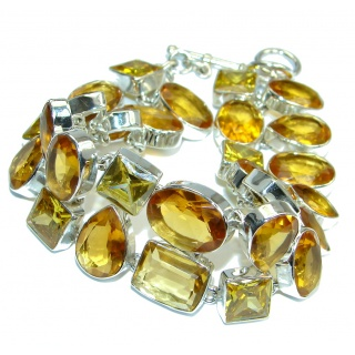 Jumbo Flawless Passion Lab. Golden Topaz Sterling Silver handmade Bracelet
