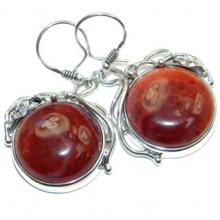 Fancy Design Orange Mexican Fire Agate Sterling Silver handmade earrings