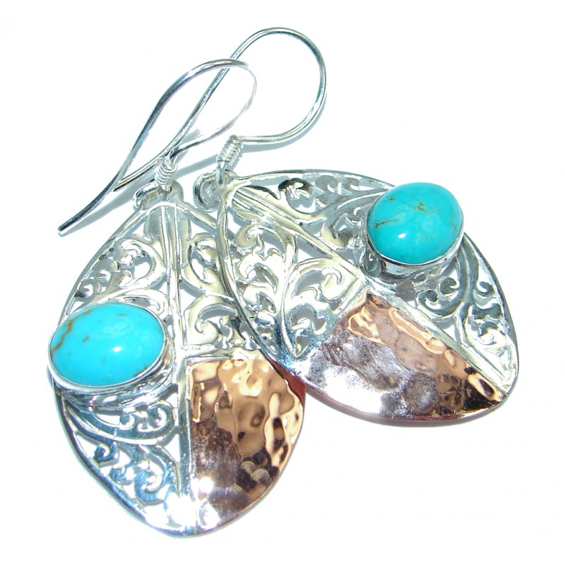 Genuine Blue Turquoise Two Tones Sterling Silver handmade earrings