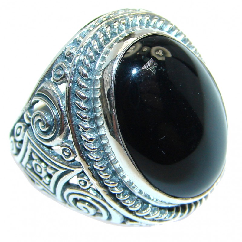 Tradition Black Onyx Sterling Silver handmade ring size 6