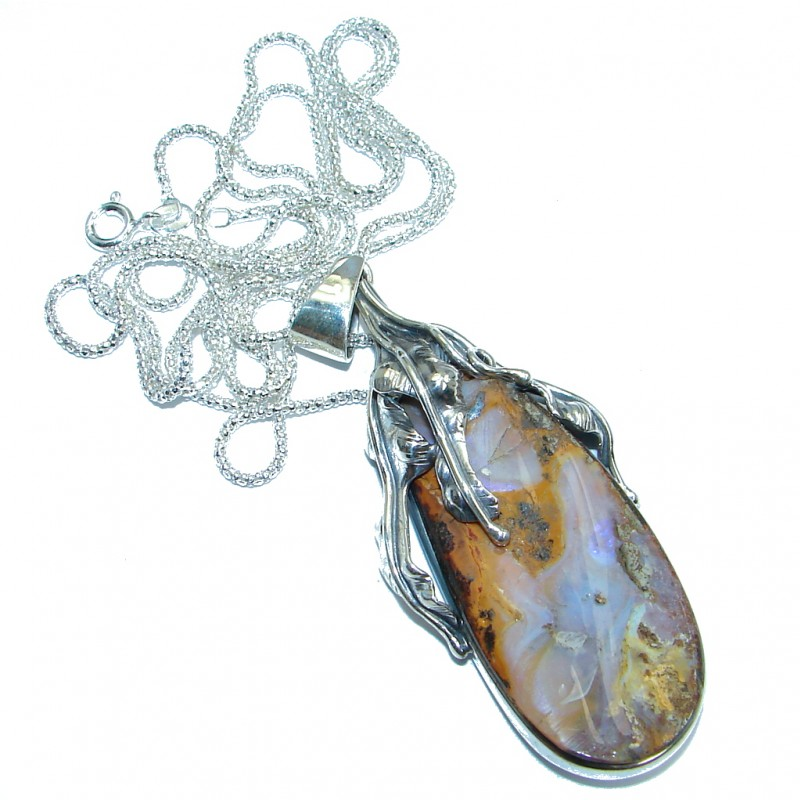 32 inches long Australian Boulder Opal oxidized Sterling Silver handcrafted necklace