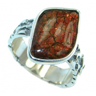 Orange Fire Genuine Canadian Ammolite Sterling Silver handmade ring size 8 1/4
