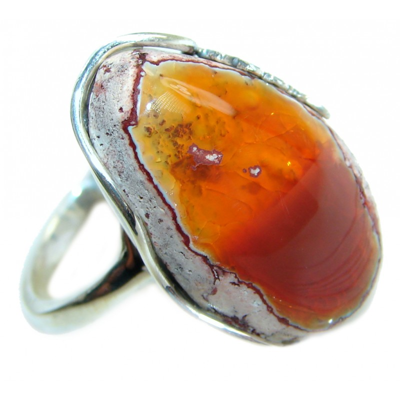 Mexican Fire Opal Oxidized Sterling Silver handmade Ring size 8 adjustable