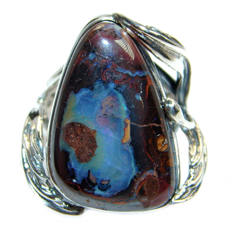 Classic Boulder Opal Sterling Silver handcrafted ring size 7 adjustable