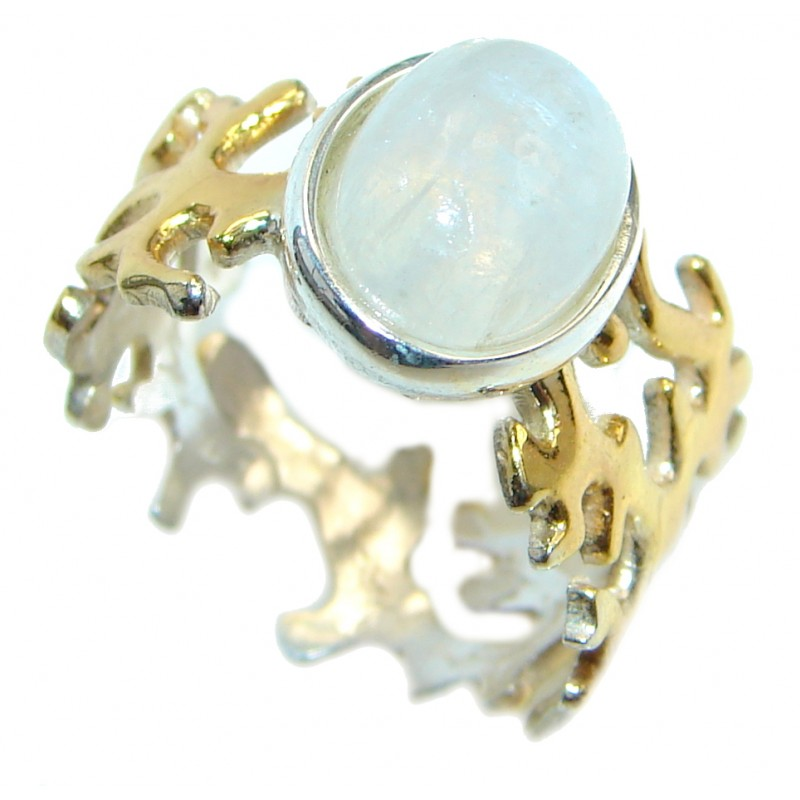 Sublime Fire Moonstone Gold plated over Sterling Silver handmade ring size 7 adjustable
