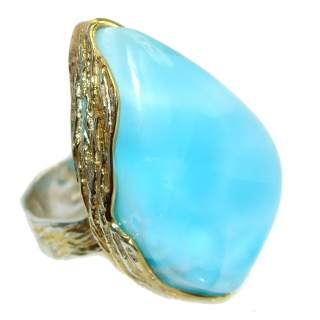 Jumbo Vintage Look Genuine Larimar Two Tones Sterling Silver handmade Ring size 9