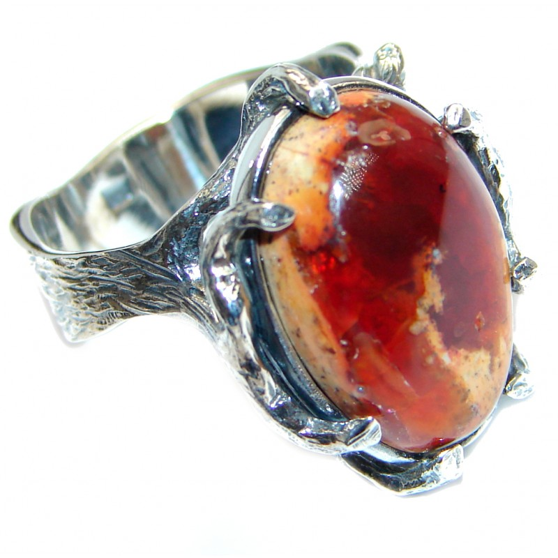 Authentic Mexican Fire Opal Oxidized Sterling Silver handmade Ring size 8