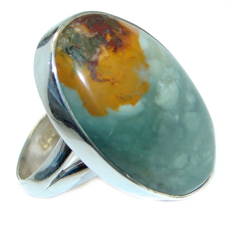 Authentic Morrisonite Jasper Sterling Silver handmade Ring size 8 adjustable