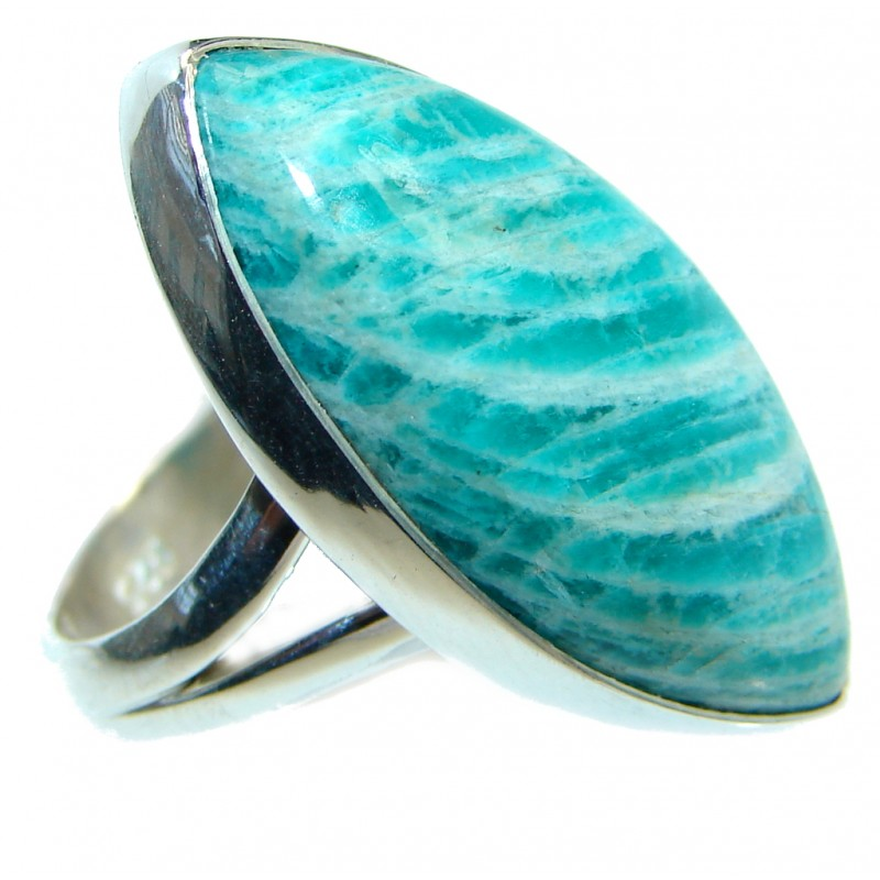 Ocean Blue Amazonite Sterling Silver ring s. 7 adjustable