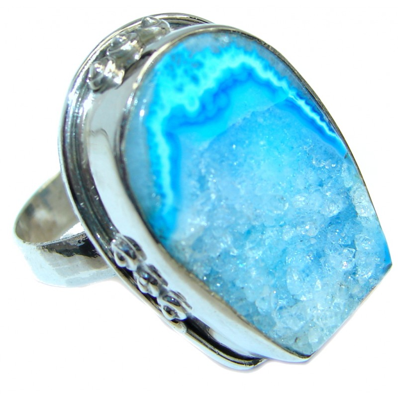 Exotic Druzy Agate Sterling Silver Ring s. 10