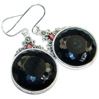 Great Style Onyx Granet Sterling Silver handmade earrings