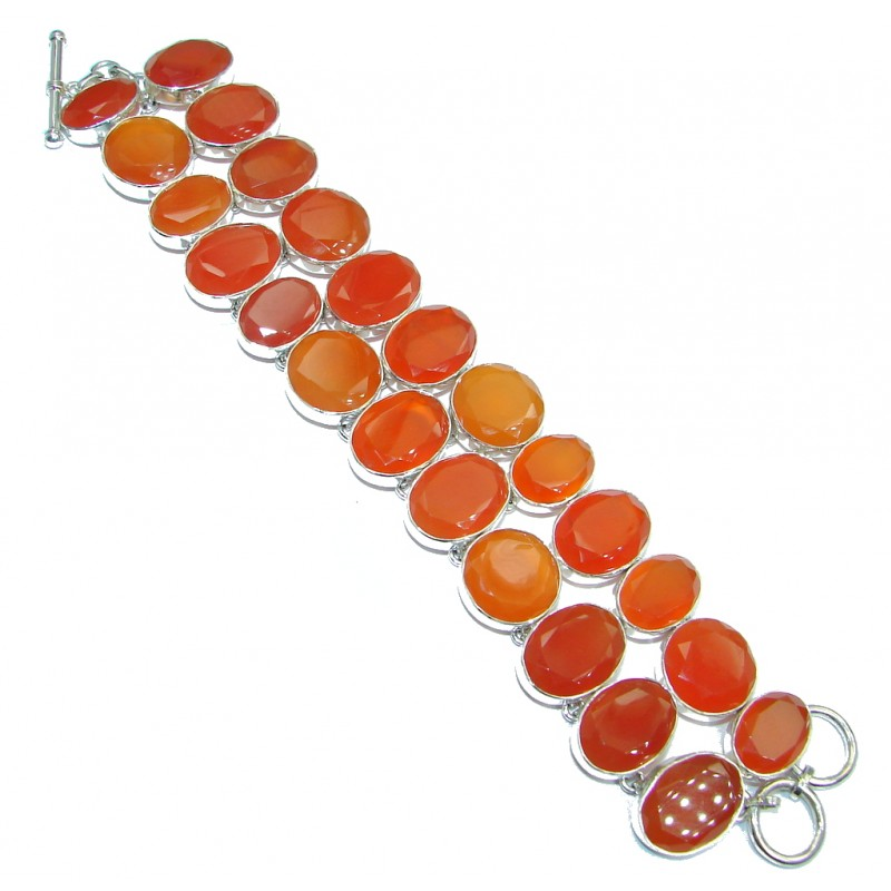 Large Sunset in Tuscon Authentic Carnelian Sterling Silver handmade Bracelet