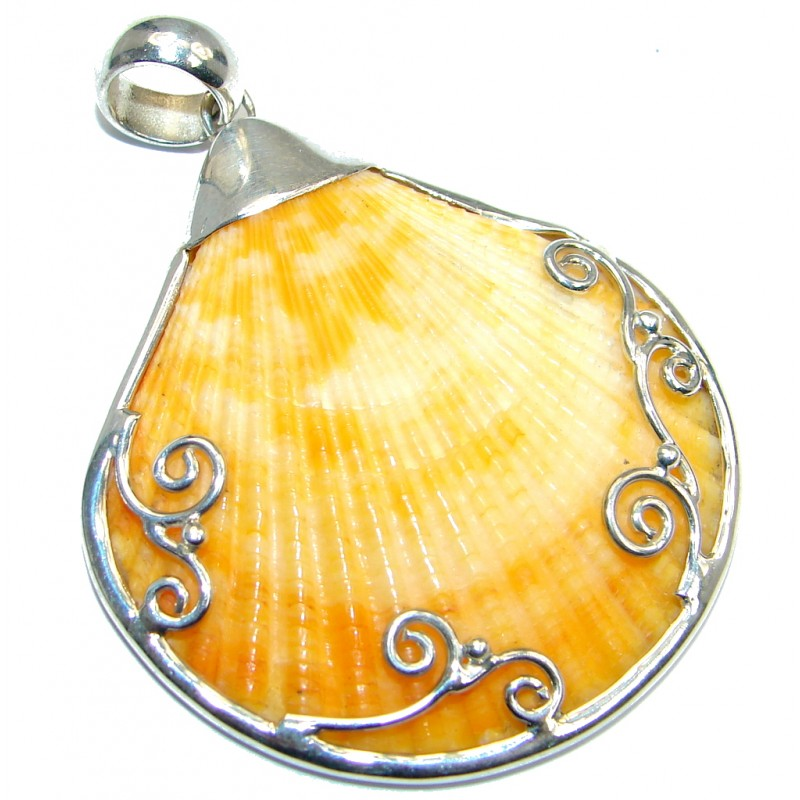 Fancy Design Genuine Shell Sterling Silver handmade Pendant