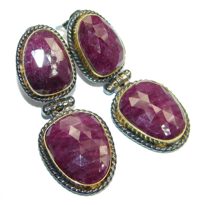Trendy Ruby 18ct Gold Rhodium plated over Sterling Silver handmade stud earrings