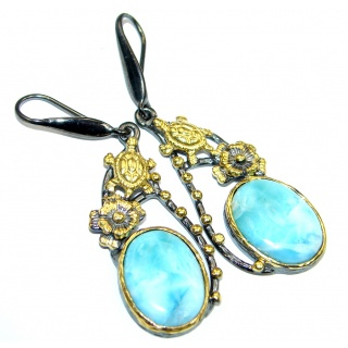 Sea Turtles Blue Larimar Gold Plated Sterling Silver handmade earrings