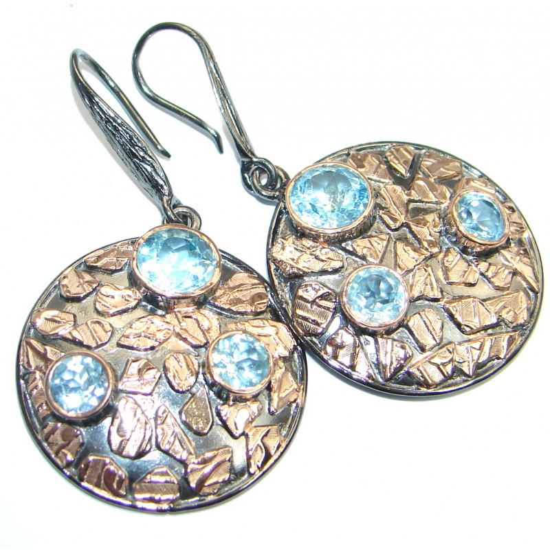 Perfect Blue Topaz Two Tones Sterling Silver handmade earrings