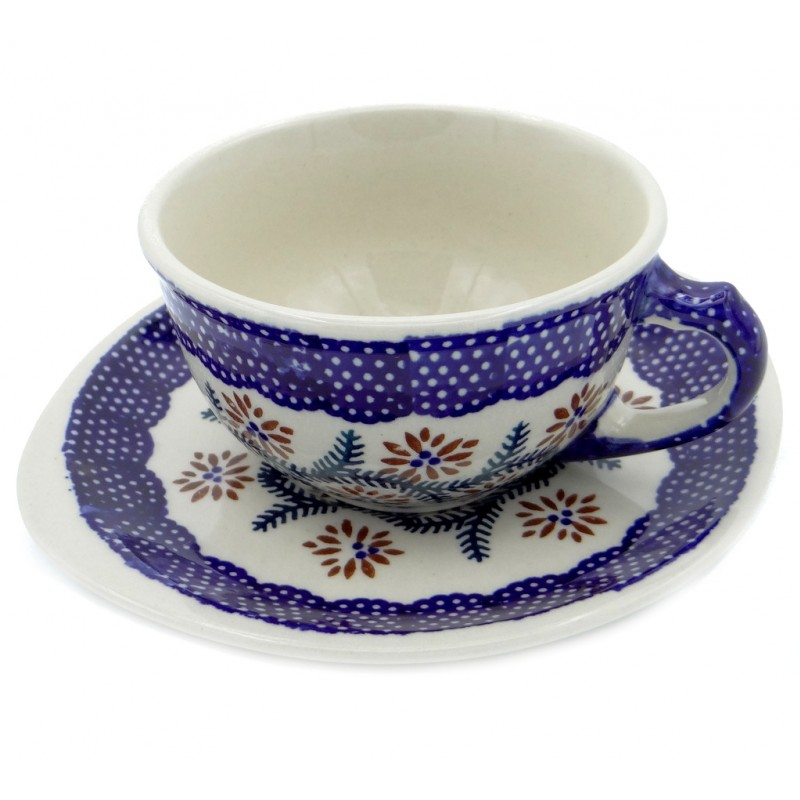 SilverrushStyle - Polish Pottery Teacup & Saucer - Spruce Twig Collection