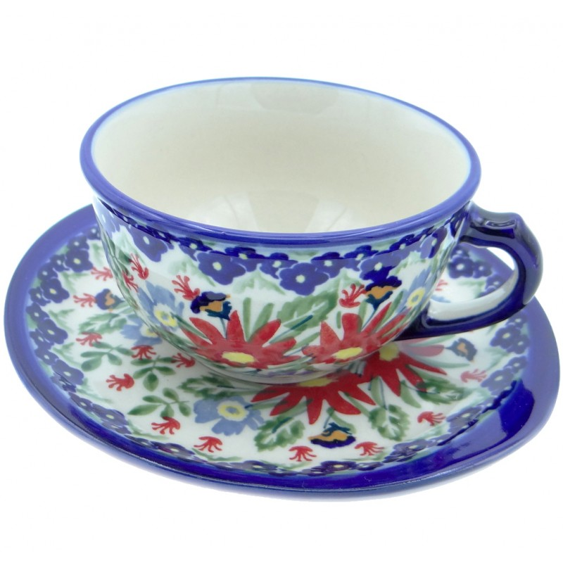 SilverrushStyle - Polish Pottery Teacup & Saucer - Flower Fields Collection