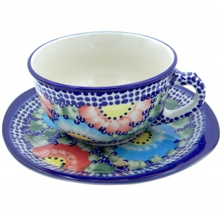 SilverrushStyle - Polish Pottery Teacup & Saucer - Garden of Eden Collection