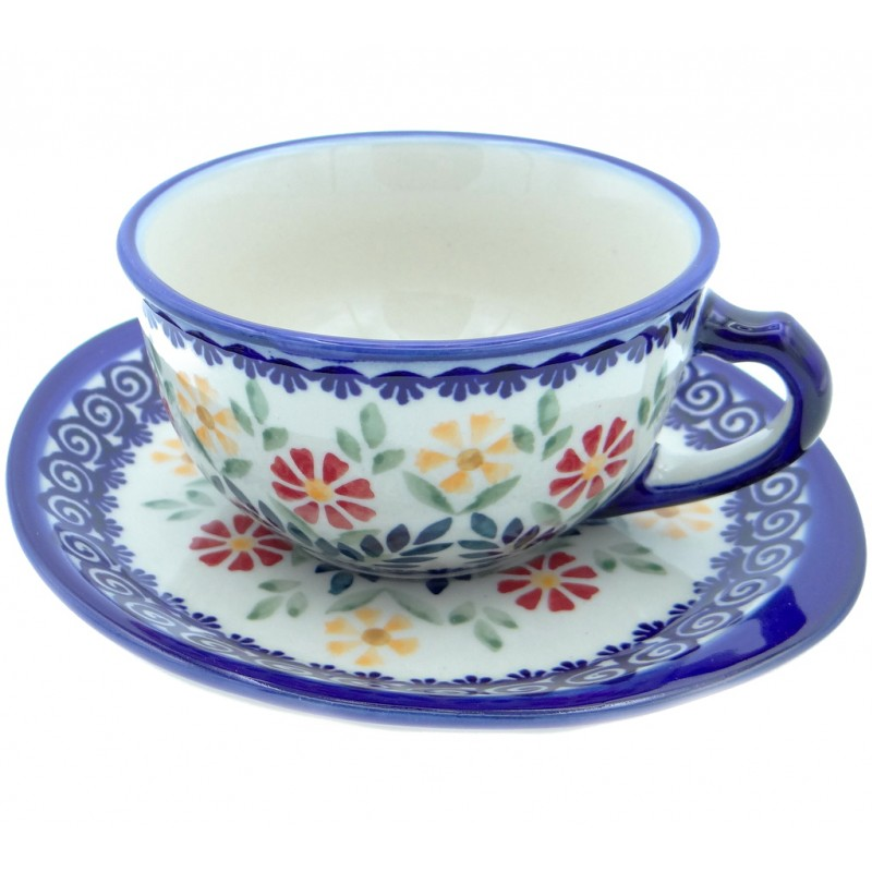 SilverrushStyle - Polish Pottery Teacup & Saucer - Flower Pond Collection