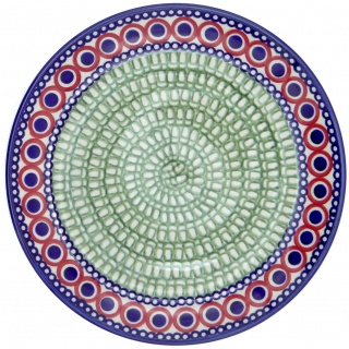 SilverrushStyle - Polish Pottery Large Dinner Plate - Modern Green Mosaic Collection