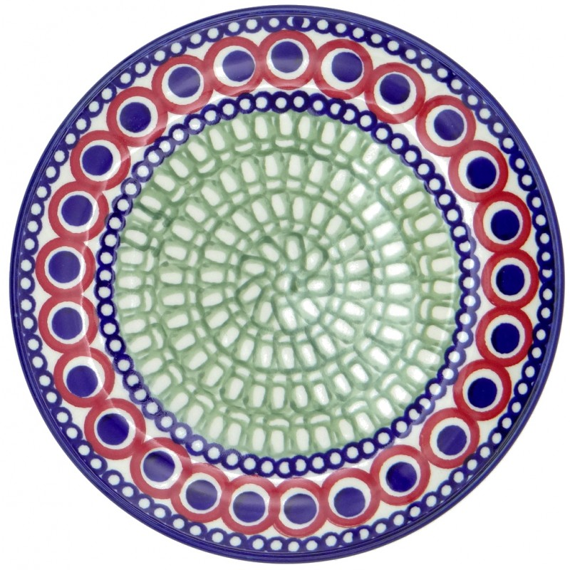 SilverrushStyle - Polish Pottery Dessert Plate - Modern Green Mosaic Collection