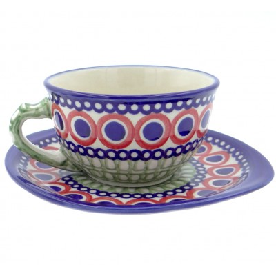 SilverrushStyle - Polish Pottery Teacup & Saucer - Modern Green Mosaic Collection