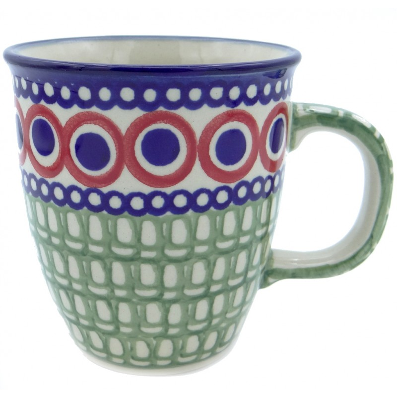 SilverrushStyle - Polish Pottery Coffee Mug - Modern Green Mosaic Collection