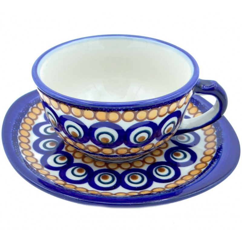 SilverrushStyle - Polish Pottery Teacup & Saucer - Fiesta Time Collection