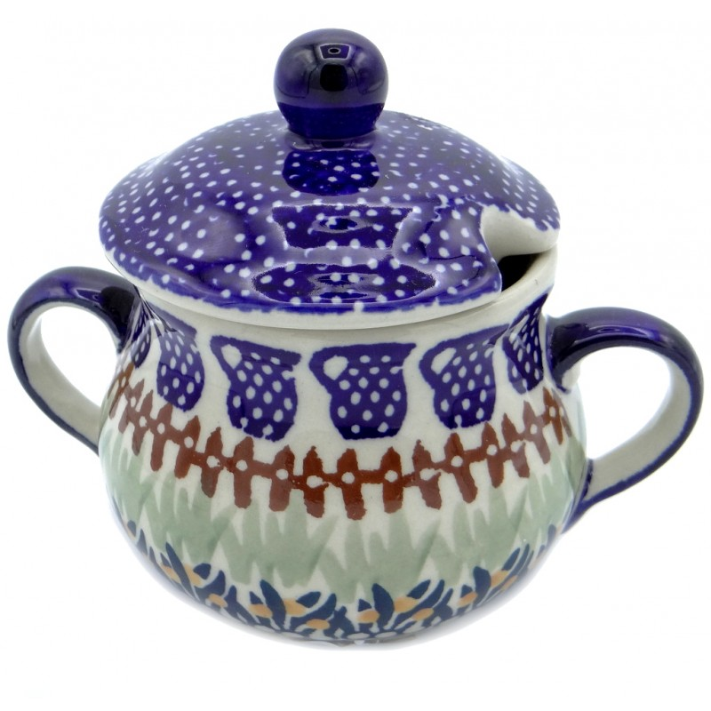 SilverrushStyle - Polish Pottery Sugar Bowl- Cobalt Blue Collection