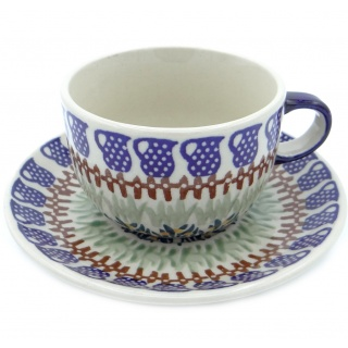 SilverrushStyle - Polish Pottery Teacup & Saucer - Cobalt Blue Collection