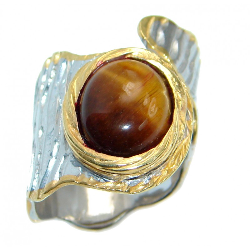 Chunky Golden Tigers Eye Rose Gold plated over Sterling Silver ring size 7 adjustable