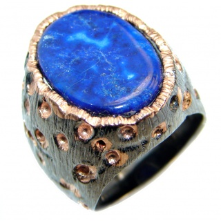 Perfect Blue Lapis Lazuli Rose Gold Rhodium plated over Sterling Silver Ring size 7