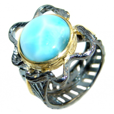 Larimar Gold plated over Oxidized Sterling Silver handmade Ring size 7 adjustable