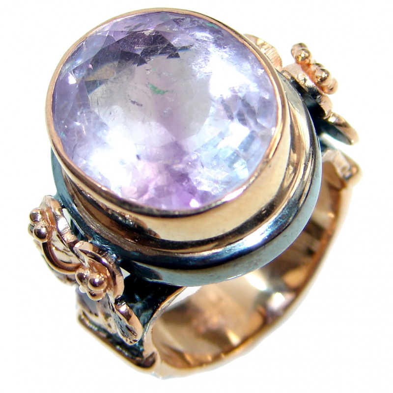Vintage Style Amethyst Gold plated over Sterling Silver ring; s. 7