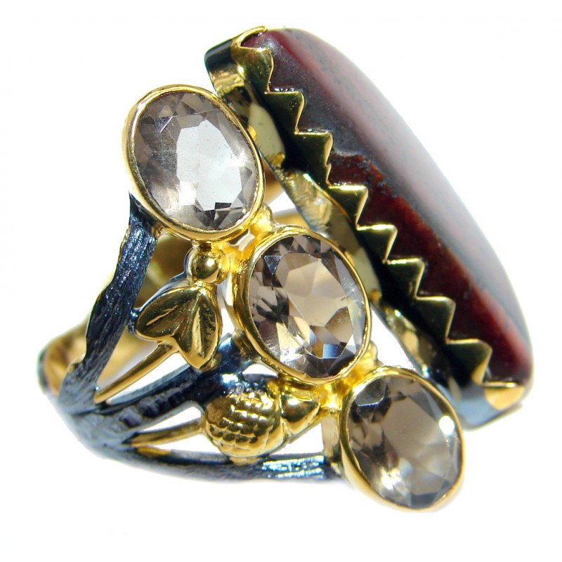Amazing Red Tigers Eye Gold plated over Sterling Silver ring s. 8 1/4