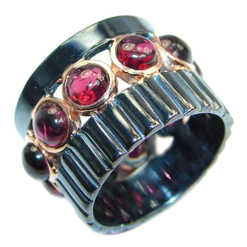 Genuine Rhodolite Garnet Gold plated over Sterling Silver made ring size 7