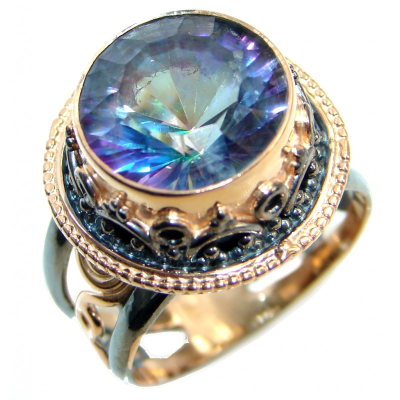 Bold Exotic Blue Rainbow Magic Topaz Sterling Silver handmade Ring s. 9