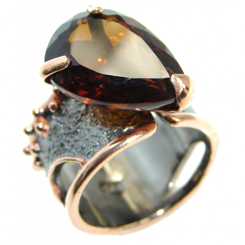 Bold Champagne Smoky Topaz Gold plated Sterling Silver Ring size 8 adjustable