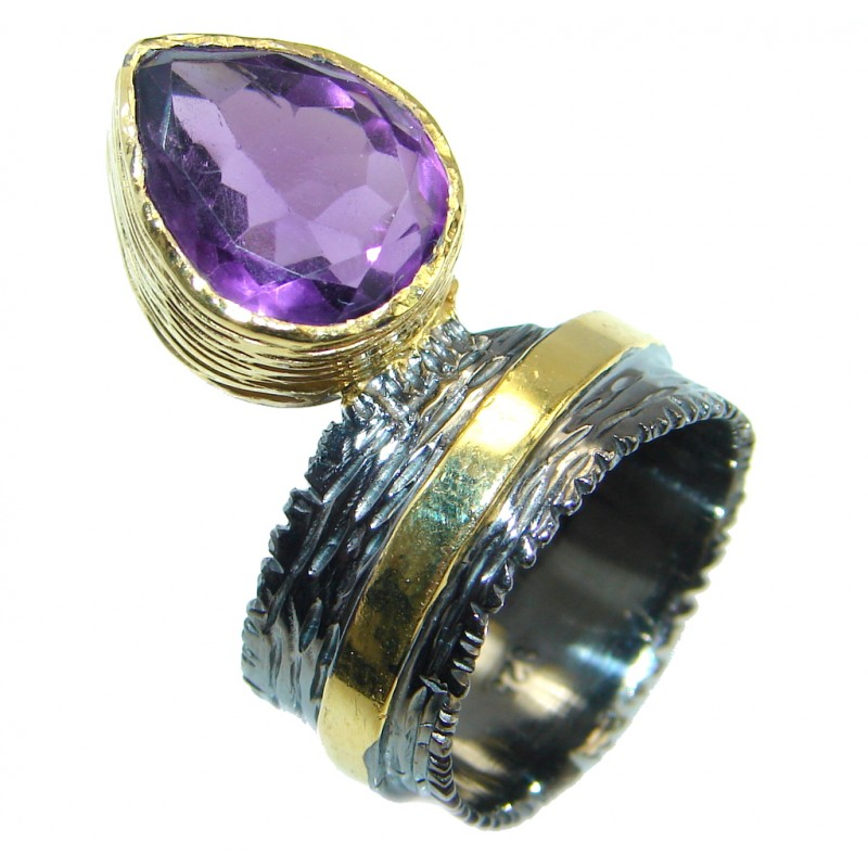 Vintage Style genuine Amethyst Gold plated over Sterling Silver ring; s. 8